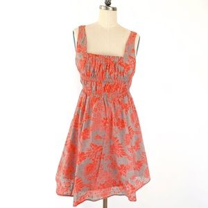 Free People Sun Dress gray with orange Flowers